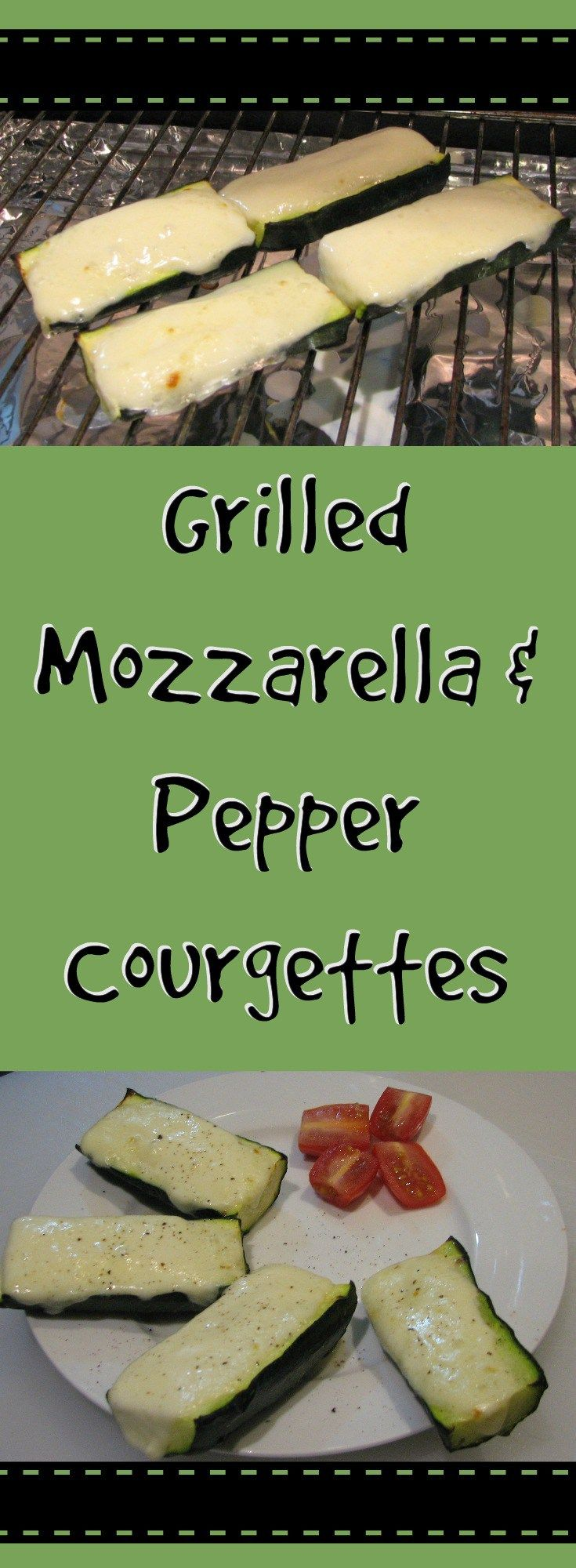 Grilled Mozzarella & Pepper Courgettes, gluten free tasty snack and ready in under 10 minutes (including prep) - great for parties too!