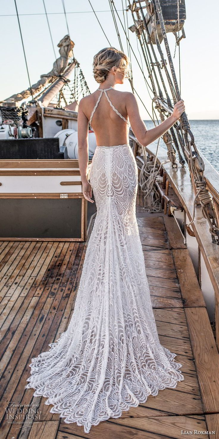 lian rokman 2017 bridal sleeveless strap halter deep plunging sweetheart necklin…