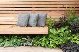 Cantilevered bench - to keep weight off the roof/floor.