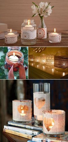 Velas na decoração da casa  Nada melhor do que colocar a mão na massa e providenciar um porta velas bonitão para aquelas velas menores. Que tal dar um uso para o recipiente de vidro vazio, da geleia, do palmito…