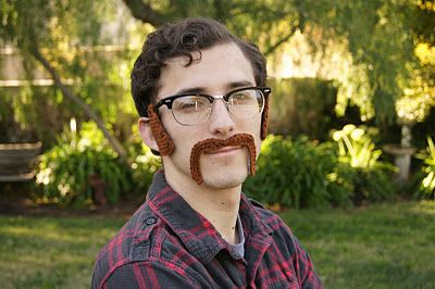 Had to pin because it's so silly -- crochet sideburns (that attach to glasses) and horseshoe mustache