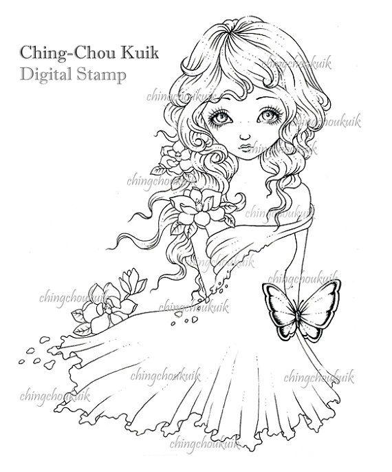 Ciao Magnolia - timbro digitale istantanea Scarica / farfalla fiore ragazza fantasia artistica di Ching-Chou Kuik