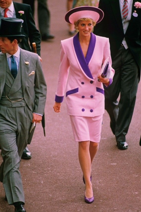 Never afraid to stand out from the crowd, Diana opted for a double-breasted pink suit for Royal Ascot in 1990.