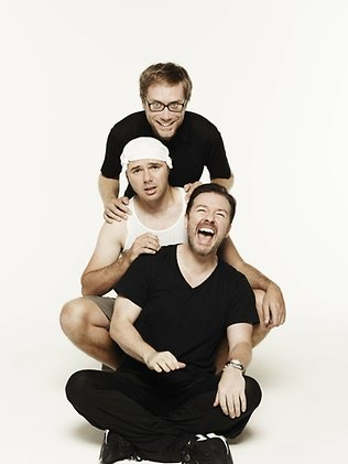 """Stephen Merchant, Ricky Gervais with Karl Pilkington who's """"head is as round as a fucking orange!"""""""