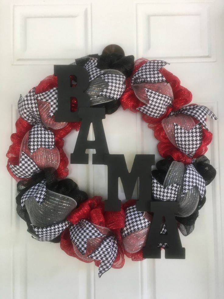 Alabama Wreath, Roll Tide Wreath, Bama Wreath, Team Wreath, Red and Black Wreath