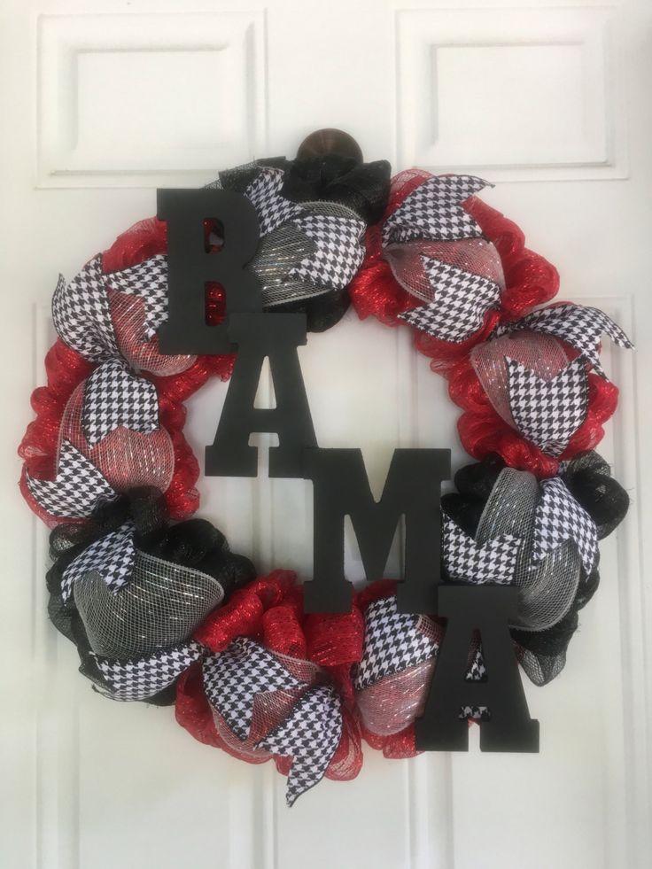 Alabama Wreath, Roll Tide Wreath, Bama Wreath, Team Wreath, Red and Black Wreath