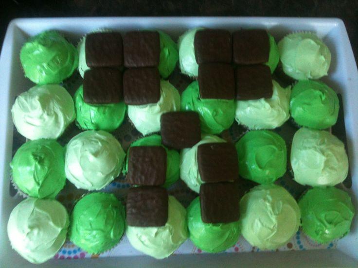 Mine craft cupcakes- kids birthday party -cake
