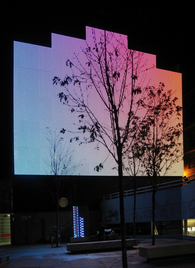 Building Facade Lighting Led Action Faade Digital For Medialab Prado Langarita Navarro Arquitectos Building Facade Lighting
