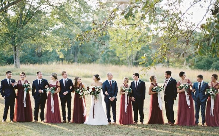 Bridesmaids' Dresses: Jenny Yoo - http://www.stylemepretty.com/portfolio/jenny-yoo Groom's Attire: The Tie Bar - http://www.stylemepretty.com/portfolio/the-tie-bar Venue: Vinewood Plantation - http://www.stylemepretty.com/portfolio/vinewoodevents   Read More on SMP: http://www.stylemepretty.com/2016/12/21/red-greenery-rustic-wedding/