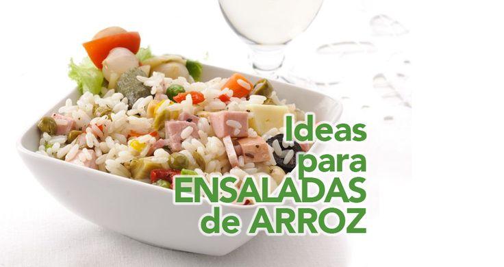 Ideas para hacer ensaladas de arroz con diferentes ingredientes a tu gusto. Aquí tienes muchas combinaciones y las salsas que le van mejor a cada una.