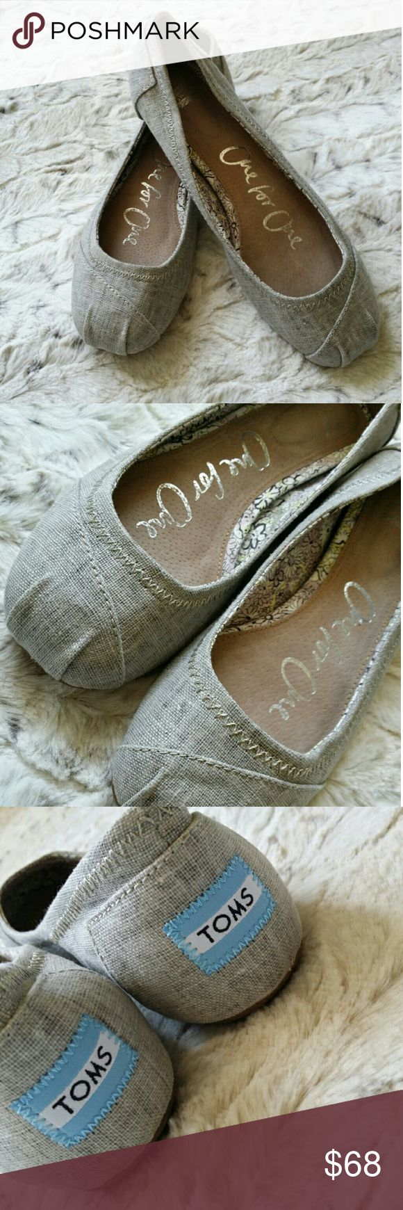 Toms Ballet Gray Oat Linen Flats EUC Only worn inside. Great to wear any day of the week for work or play! Perfect neutral color to go with your basic skirts or Lularoe prints! Beautiful addition to any fashionistas closet!  Note : Very slight wear visible on bottom of shoes as shown in photo. Also, some fading of size (w5) inside shoes-can provide photo if interested.  Smoke/Pet Free Home  No Trades TOMS Shoes Flats & Loafers