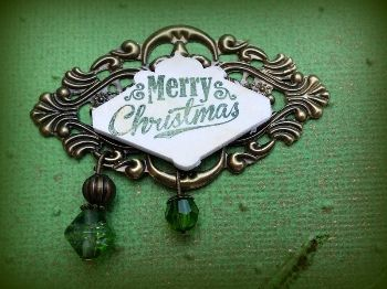 Bronze and Green Merry Christmas Charming Word | my2angels scrapbooking and craft supplies