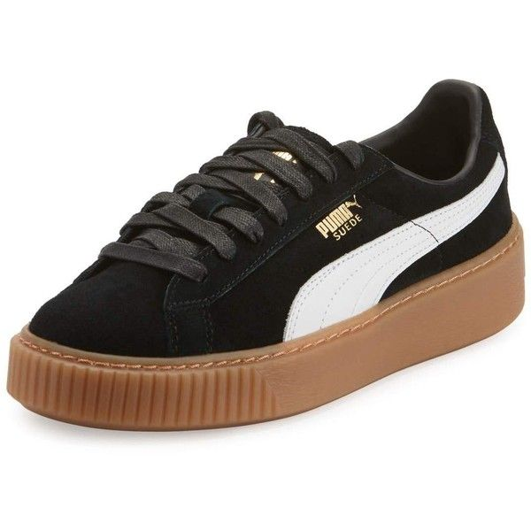 Puma Basket Suede Platform Creeper ($100) ❤ liked on Polyvore featuring shoes, black gum, flat platform shoes, puma creeper, lace up shoes, creeper platform shoes and suede shoes