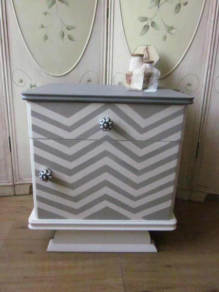 Chevron nightstand Annie Sloan chalk paint and clear wax
