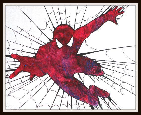 Spiderman Original Handmade Art Tempera Vivid Colors by MAKRISSHOP