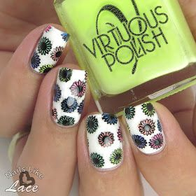 NailsLikeLace: The Digit-al Dozen are Inspired by Each Other: Neon Pastel Rainbow Flowers