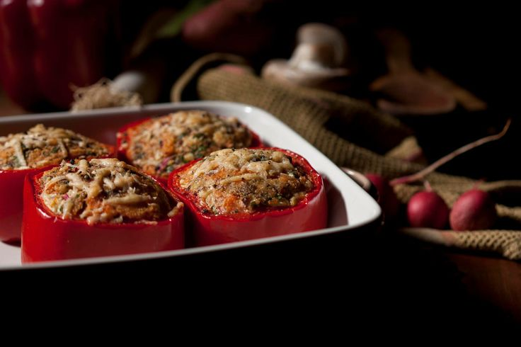 Capsicum stuffed with a mixture or riccota and blue cheese, sweet potato,roasted walnuts, diced radish, leek and mushrooms topped with parmesan cheese and baked.