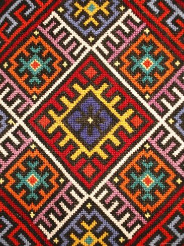 Traditional embroidery, Zakarpattia Oblast, Transcarpathia, Ukraine Photographic Print