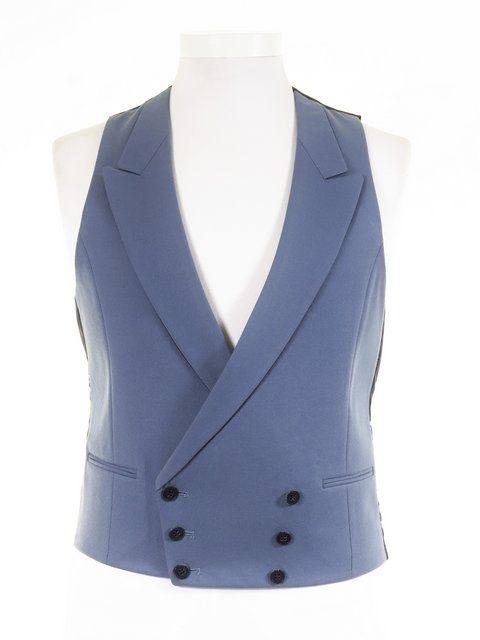 Wedgewood Blue Wool Double Breasted Waistcoat - Ex-Hire Wedding Morning Waistcoat - £29.99