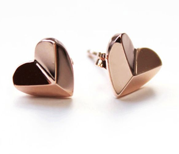 Rose Gold Heart Pyramid Studs <3