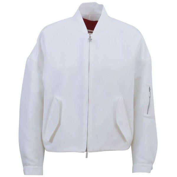 Hanna Elyse Cropped Jacket (66.970 RUB) ❤ liked on Polyvore featuring outerwear, jackets, white, cropped jacket, logo jackets, white jacket, moncler gamme rouge and white cropped jacket