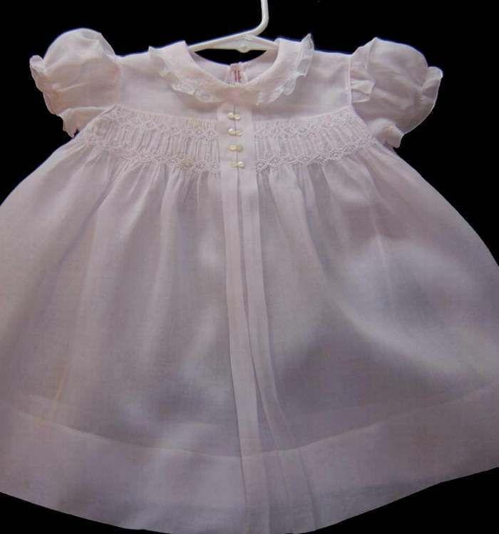 vintage pink smocked baby dress, circa 60's