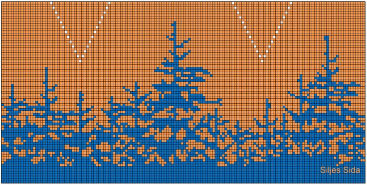 Knitting pattern  Orange part for the yolk, blue trees high up, solid blue for most of it, and silhouette of moose at the bottom