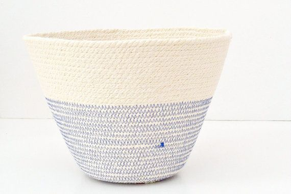 Cotton Cord bowl British style with colour by PALEOLOCHIC on Etsy