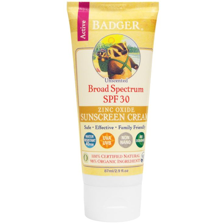 Badger Company, Zinc Oxide Sunscreen Cream, SPF 30,  Unscented, 2.9 fl oz (87…
