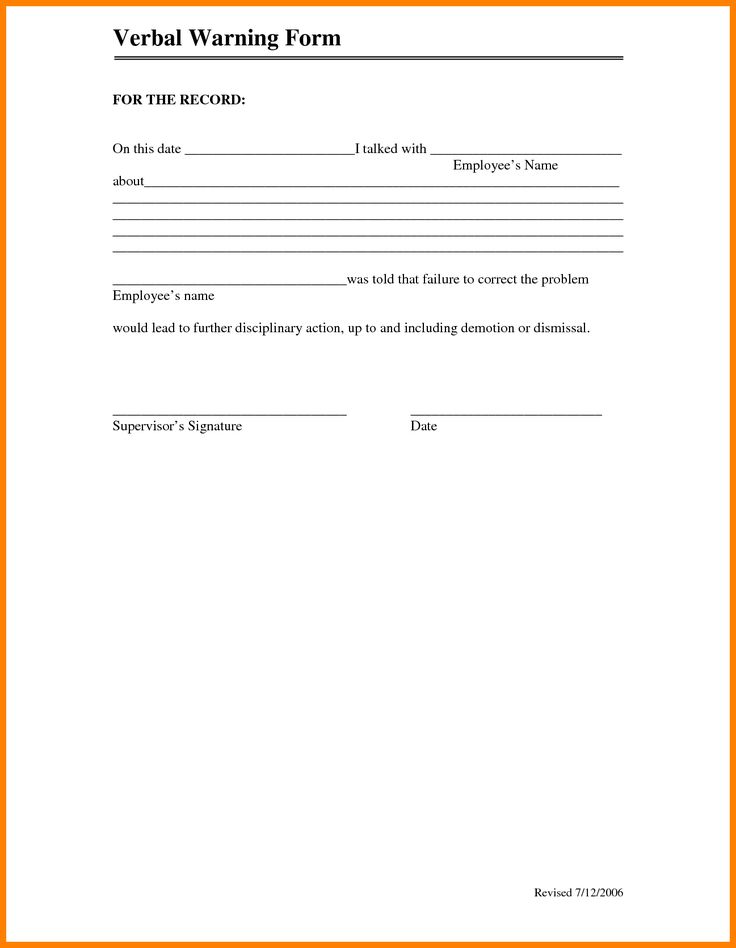 6+ verbal warning form monthly budget forms labour relations