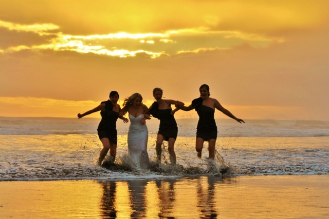 fun beach wedding