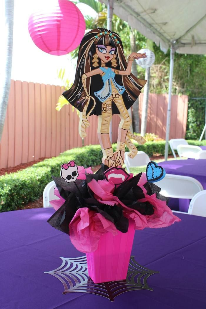 Cute TABLE CENTERPIECES from this Monster High Themed Birthday Party with Lots of Really Cute Ideas via Kara's Party Ideas KarasPartyIdeas.com #MonsterHighParty #MonsterHighC...