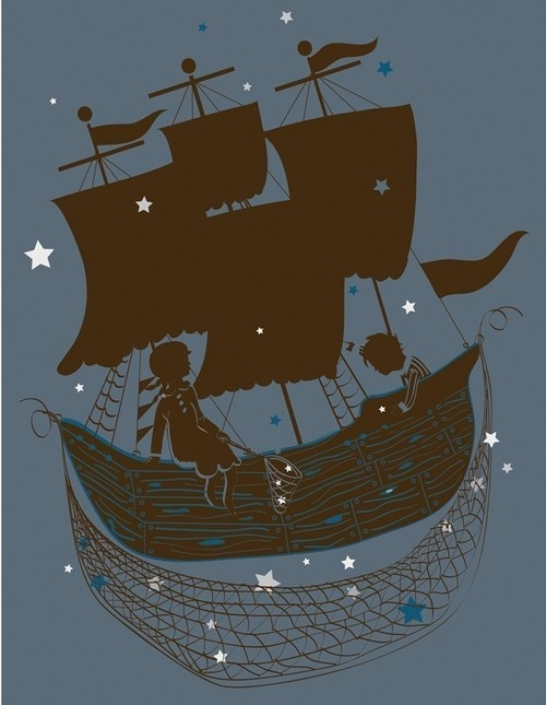 ship / boat, children (boy and girl), stars / sky, net, night scene, illustration - author unknown