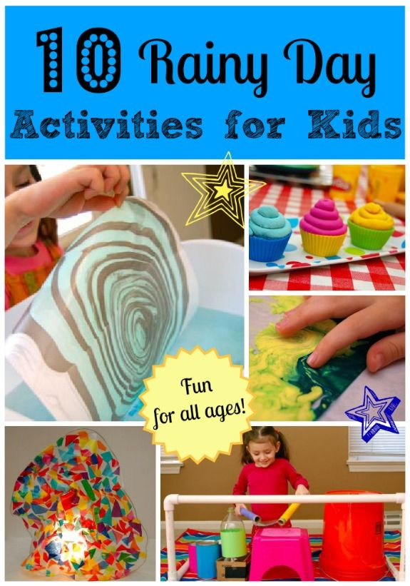 10 Rainy Day Activities for Kids. Check out these fun and interesting activites to keep little hands busy on the soggiest of days!