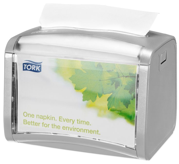Tork Xpressnap Grey Tabletop Napkin Dispenser: We guarantee Tork Xpressnap® napkin dispensing system will reduce napkin usage by at least 25% compared with traditional dispensers, helping you to reduce napkin consumption and waste. (System: N4 - Interfolded napkin system; Material: Plastic; Height: 155 mm, Width: 201 mm, Depth: 150 mm; Color: Light grey) Get more information about this product at: http://bimobject.com/en/sca-eu/product/272613/sca-tork-eu