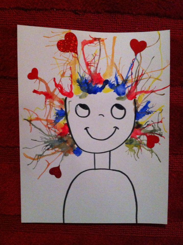 Love, valentine's day, crazy hair, crazy in love, electric love, craft for kids, preschool, paint, straw, heart Amour, St-valentin, amour fou,  bricolage, maternelle, peinture, paille  Peinture diluée avec de l'eau Souffler avec la paille les gouttes de peinture sur le carton. Ajouter des coeurs