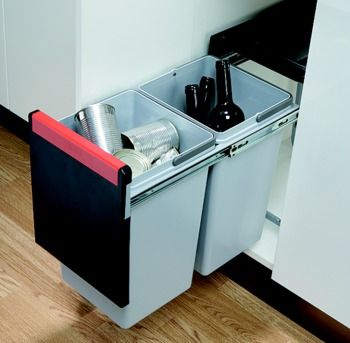 Pull Out Waste Bin, 2x 15 Litres, Cube 30 (502.76.508)