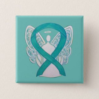 Teal Angel Awareness Ribbon Art Custom Lapel Pin - The teal green ribbon color means support for Agoraphobia, Anxiety Disorder, Dissociative Identity Disorder, Food Allergies, Fragile X Syndrome, Myasthenia Gravis, Obsessive-Compulsive Disorder, Ovarian Cancer, Cervical Cancer, Panic or Stress Disorders (PTSD), Polycystic Ovarian Syndrome, Polycystic Kidney Disease, Sexual Abuse, Sexual Assault, Substance Abuse, Batten Disease and Tourette's Syndrome (TS).