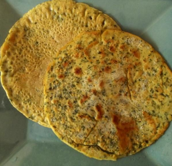 Home Made Vegan and Gluten Free Wraps: 1 cup garbanzo bean flour, 1 cup water, 2 tbs spice