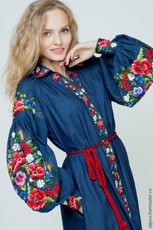 """Embroidered jeans dress #handmade / Вышитое джинсовое платье """"Яркая жизнь"""" — работа дня на Ярмарке Мастеров.  Узнать цену и купить: http://www.livemaster.ru/olgasu"""