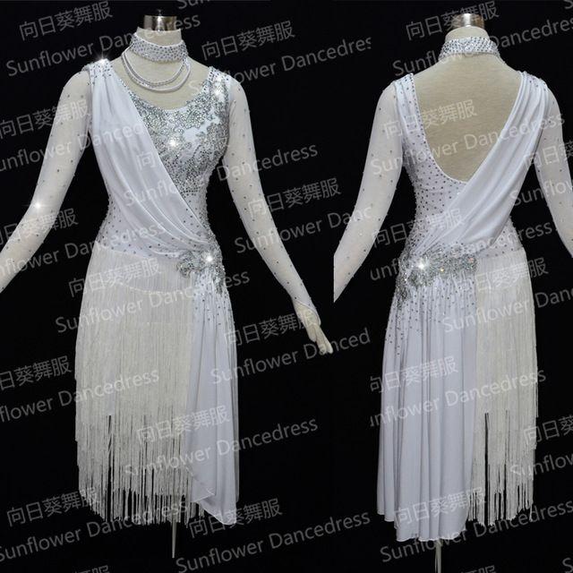 Femmes Latine De Danse Dress Femmes Salle De Bal Danse Dress Latine De Danse Costume De Danse Latine Dress Tango Dress Samba Jupes, blanc