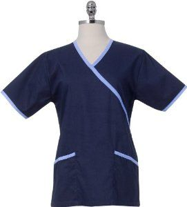 Chef Works FESS-NAV-L Women's Medical Scrub Top, Navy/Ceil, L by Chef Works. $14.95. From the Manufacturer                Our fashion-forward, female scrub top is styles to flatter the figure with its mock wrap design and contrasting back ties that gently taper the waistline. The pull over style with the trimmed v-neck, drop shoulders and side seam vents make this garment easy to work in and comfortable to wear. Made of brushed 65% polyester.35% cotton poplin fabric, ...