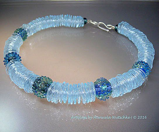 Glass bead necklace by Manuela Wutschke - Ice Princess - Sapphire - $400us Lampwork handmade by the artist