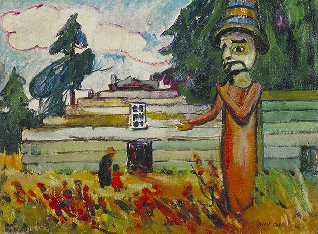 """Emily Carr's work from her time in Vancouver shows a living culture: peopled villages alongside longhouses and totems. The communities she depicts were as much a part of her vision as the cultural objects she found there. """"Potlatch Figure (Mimquimlees),"""" 1912, National Gallery of Canada."""