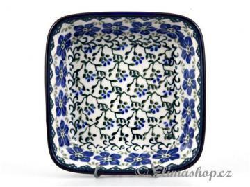 Squared BOWL 13/13 cm . This Handmade Polish Pottery bowl is from ELIMAshop.cz . Boleslawiec . Bunzlau . ceramics . stoneware . ( miska čtvercová větší 13/13 cm )