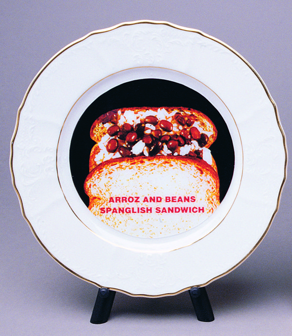 Adal Maldonado (ADAL). El Spanglish Sandwich, 2000; printed ceramic plate and stand; 8-inch diam. Courtesy of El Museo del Barrio.