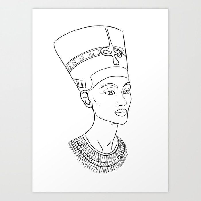 Nefertiti Illustration Art Print By Viktorius Art X Small In 2020 Nefertiti Tattoo Queen Nefertiti Tattoo Egyptian Goddess Tattoo
