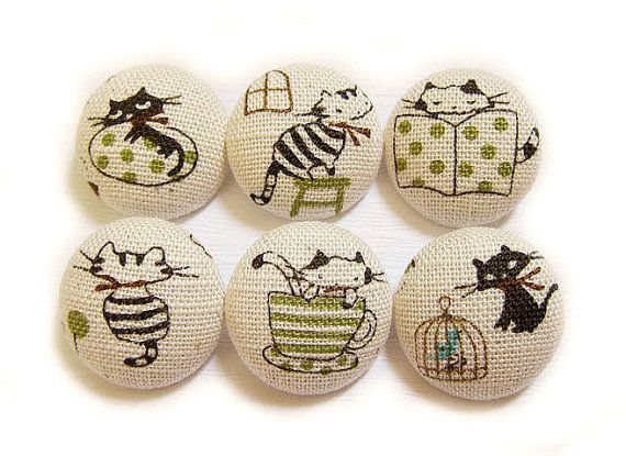 6 Large Fabric Buttons Set Busy Cats by heydayhandmade on Etsy, $6.25