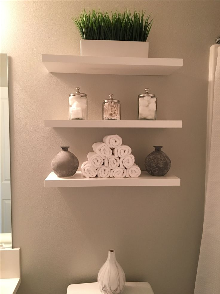 Superb Bathroom shelves modern clean white and grey added shelves green