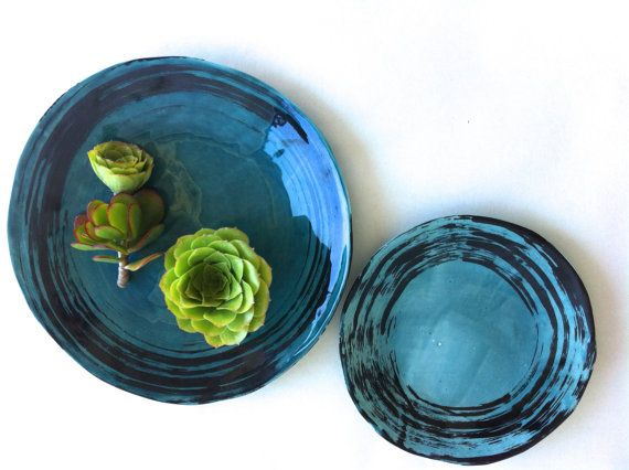 PLACE SETTINGS in gorgeous PEACOCK includes 5 by LeaWoodCeramics, $197.00